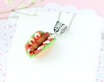 Cute hotdog charm necklace miniature food jewelry hot dog jewelry polymer clay jewelry womens hotdog pendant Foodie necklace