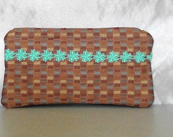Zipper Pouch - Clutch Purse Wallet in Rust and Orange Turquoise Fall Flower Modern Upcycled Bag Friend Gift Bag