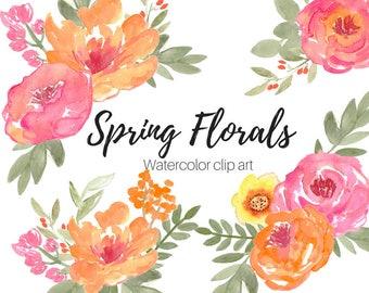 Watercolor Clip Art - Wedding Clip Art  - Spring Clip Art - Flower Clip Art - Commercial Use