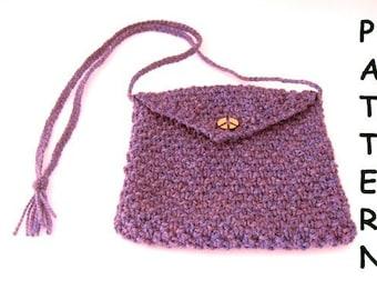 pdf Knitting Pattern Small Shoulder Bag Purple Peace