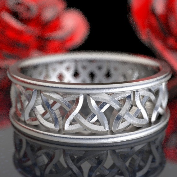 Eternity Ring Wedding With Cut-Through Celtic Woven Celtic Knot Design in Sterling Silver, Made in Your Size CR-37