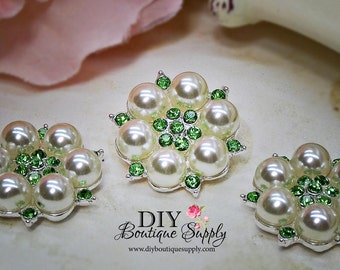 GREEN Rhinestone & Pearl buttons Crystal Embellishments Headband Supplies flower centers Metal Flat back  5 pcs 26mm 460063