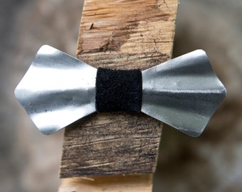 Metal Bow Tie- Steel, Heat Treated, Handmade, Adjustable, Wooden Bow Tie, brushed, Black Leather Knot Accent, Unique Bow Tie, Wood Bow Tie