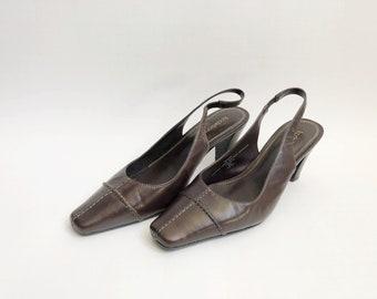 vintage liz claiborne square toe slingbacks brown women's size 6.5 90s
