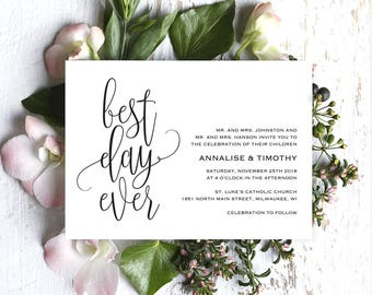 Best Day Ever Wedding Invitation, Wedding Invitation Template, Rustic Invitation, Wedding Printable, Invite, PDF Instant Download #BPB269_1