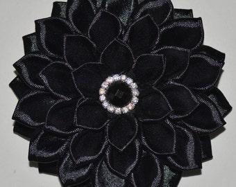 Handmade Girls Flower Hair Clip/Bow in Black, Kanzashi Style, School/Party