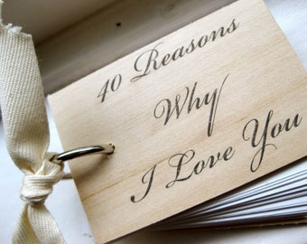 """I Love You wood notepad / notebook - 40 reasons why I love you - Mini notepad (3"""" x 2"""")"""