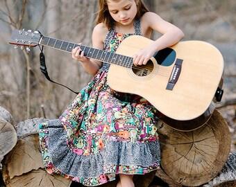 Lily Bird Studio PDF Sewing Pattern - Rosette's Dress - 1 to 10 years - shirred waist, ruffled skirt