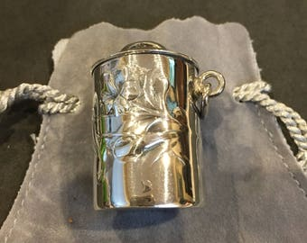 "Sterling Silver Thimble Case, Floral Pattern, 1950""s"