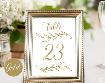 Printable Wedding Table Numbers 1–40, Gold Wedding Table Numbers, INSTANT DOWNLOAD, 5x7 and 4x6 sizes, TN09, VW01GOLD