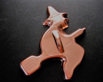 Vintage Aluminum, Copper Finish Witch on Broom for Halloween Fun