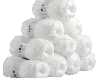 10 x 50g knitted Yarn eko fil, #011 White