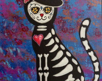 Original Day of the dead Cat paitning. Acrylics on canvas board.