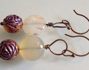 Copper and Agate Earrings Handmade