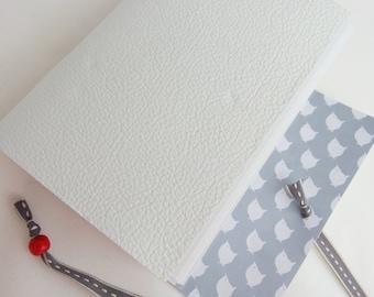White Leather Bird Journal, Gift for her, Hand Bound Journal, Bucket List, Gratitude Journal, White Leather Journal, white leather notebook