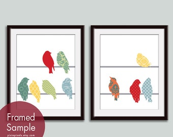 Vintage Pattern Birds on a Wire (B) - Set of 2 - Art Prints (Featured in Assorted Colors) Vintage Modern Decor