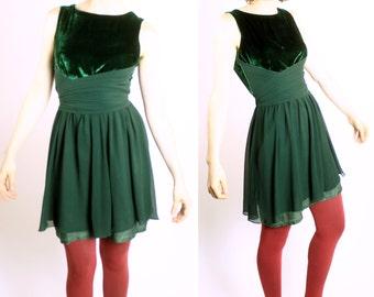 SUPER SALE Sixties Emerald Velvet and Silk Party Dress
