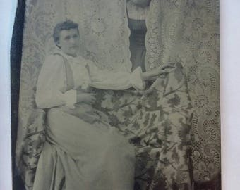 Antique Tintype Two Women Friends or Sisters with One Peeking From Behind Curtains.