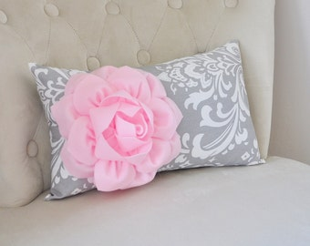 Damask Lumbar Pillow Light Pink Dahlia on Gray and White Damask Lumbar Pillow 9 x 16