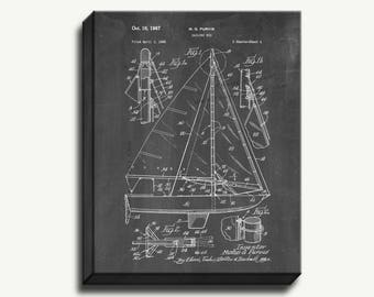 Canvas Patent Print - Sailing Rig Gallery Wrapped Canvas Poster