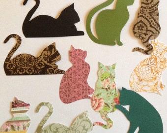 5 Cat cut outs, cat shapes, cat cardboard, black, pattern, plain or kraft, embellishment, scrapbooking, card making, paper cats, Halloween