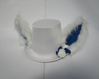 White & Blue Flowery Furry Tophat