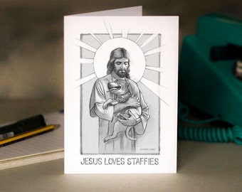 Jesus loves you card etsy jesus loves staffies greeting card beautifully drawn illustration printed on white card free m4hsunfo Images