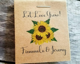Wedding Favors Bridal Shower Favors Sunflowers MINI Seeds Let Love Grow Birthday Flower Seed Packets Shabby Chic Rustic Cute & Little