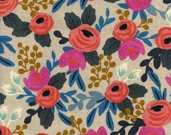 Rosa Floral - Natural cotton/linen canvas By Rifle Paper Co