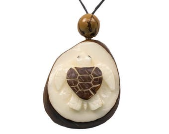 Tagua Nut Necklace: Turtle (1153-N349)