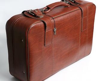 Vintage brown leather suitcase, messenger bag, man tote travel bag, vintage luggage, retro suitcase, travel suitcase, gift for him