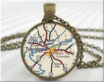Tuscaloosa Map Pendant, Resin Jewelry, Tuscaloosa Alabama Map, Gift Under 20, Picture Map Necklace 737RB