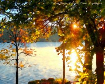 Pixelated Autumn Sunrise (14x11)