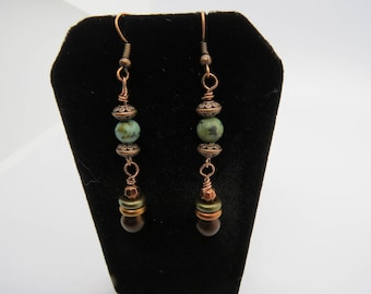 Copper and African Turquoise Earrings