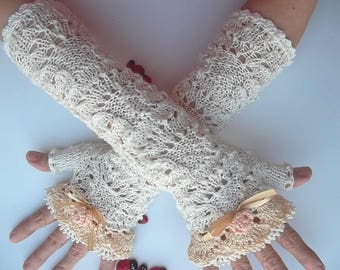 Crocheted Cotton Gloves Ready To Ship Women Victorian Fingerless Summer Wedding Lace Evening Retro Bridal Party Ivory Hand Knitted Boho B11