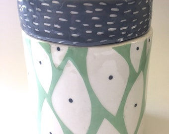 Ceramic canister use for flour or sugar handmade new leaf pattern
