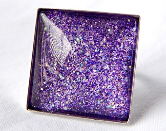 Dark Purple Ring; Glitter Nail Polish Jewelry; Hand Painted Glass Ring; Silver Square Ring; 25mm Glass Cabochon Ring; Purple Glitter Ring