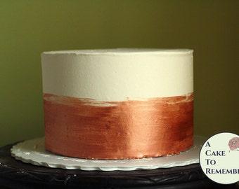 "6"" round rose gold banded fake cake for photo shoots, dummy cake tier. Faux cake wedding cake cupcake display, food prop. Engagement prop."