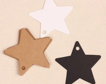 Kraft Paper Tags - 50pcs Kraft Tags Star Tag Price Tags Hang Tags Gift Tags Brown Tag Plain Tags Brown Tag Plain Tags with Hole 6cm x 6cm