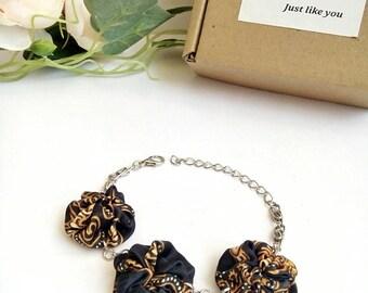 Upcycled Recycled Eco Bracelet Black Batik