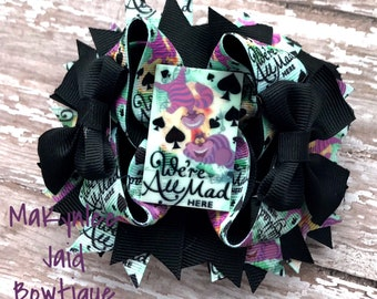 The Chesire Cat Boutique Bow|Alice in Wonderland Boutique Bow| Chesire Cat Hairbow|Alice in Wonderland TBB