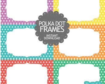 Polka Dot Digital Frames Clip Art Commercial Use Instant Download