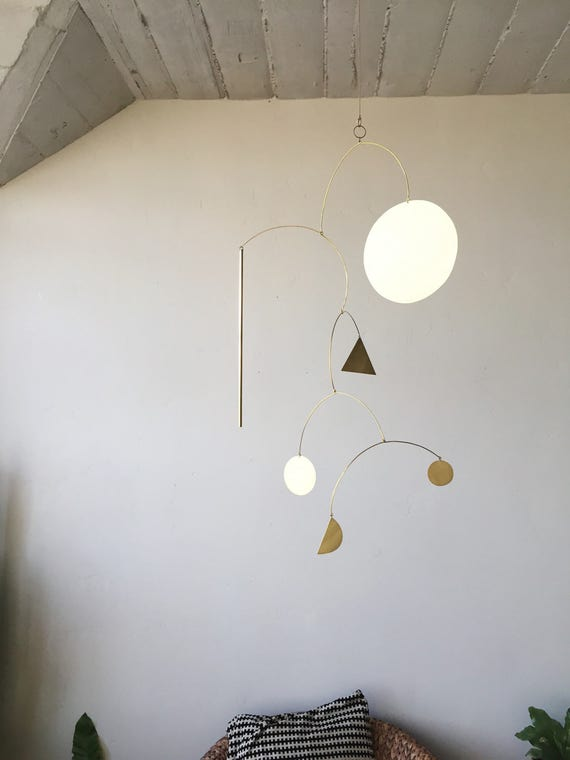 "Geometric Brass Mobile - ""Luce"" - made-to-order - 3 week turnaround time"