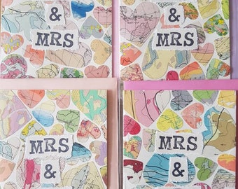 Mrs & Mrs  - handmade card using original vintage map pieces