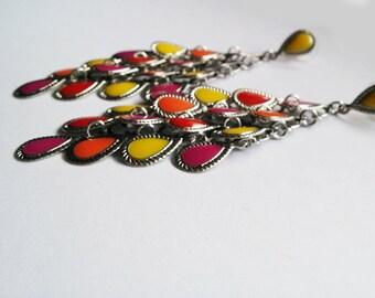 Multycolor Earrings, Vintage Style Earrings, Enamel Earrings, Eco-friendly earrings, Christmas gift