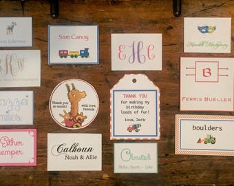 Personalized Enclosure Cards Gift Tags Labels Baby Shower Wedding Gift