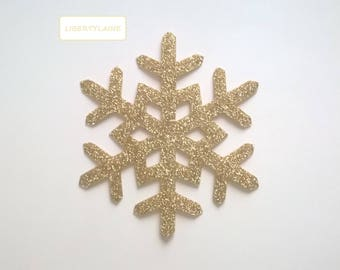 Applied fusible 10CMS snowflake clear glittery gold star shaped