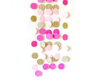 Gold and pink paper circle garland  - gold glitter garland, gold shimmer garland, glitter circle garland, gold glitter wedding, party decor,