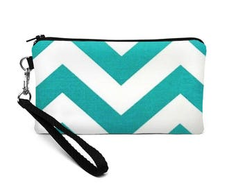 Women's Cell Phone Wallet, Padded Smartphone Wristlet, iPhone 8 Plus Case, Travel Wrist Clutch - teal turquoise chevron stripes
