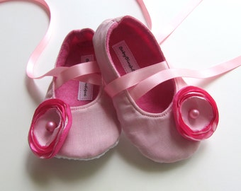 Light Pink Baby Shoes Soft Ballerina Slippers Baby Booties with Light Pink/Hot Pink Flower